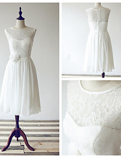 Tea-length Chiffon / Lace Bridesmaid Dress - Ivory A-line Scoop