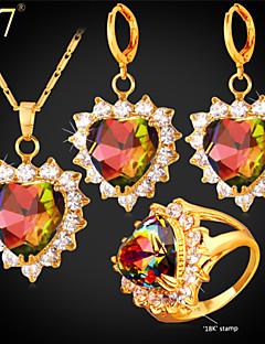 Smykkesæt Kvadratisk Zirconium Krystal Gyldent Zirkonium Kvadratisk Zirconium Guld Bryllup Fest Daglig 1 Sæt1 Halskæde 1 Par Øreringe 1