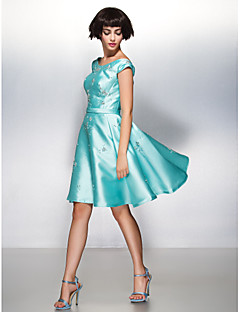 Cocktail Party Dress - Jade A-line Scoop Knee-length Satin