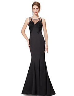 Formal Evening Dress - Black Trumpet/Mermaid Jewel Floor-length Satin / Stretch Satin
