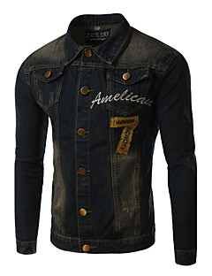 Men's Print Long Sleeve Jacket , Cotton / Denim Casual