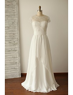 A-line Wedding Dress Floor-length Jewel Chiffon / Lace with Lace / Button