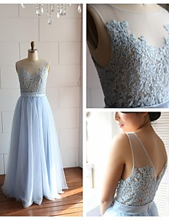 Formal Evening Dress - Ivory / Sky Blue A-line Scoop Floor-length Lace / Tulle