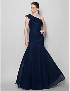 Lanting Bride® עד הריצפה שיפון שמלה לשושבינה - צמוד ומתרחב כתפיה אחת עם