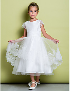 Lanting Bride A-line Tea-length Flower Girl Dress - Lace Short Sleeve Scoop with Lace