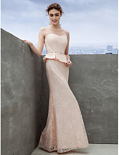Formal Evening Dress - Pearl Pink Sheath/Column Scoop Ankle-length Lace