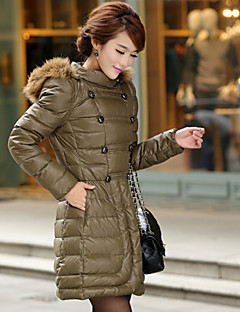Women's Solid Black / Camel Down Coat , Casual Hooded Long Sleeve