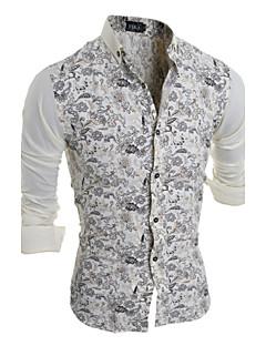 Men's Fashion Flower Splicing Slim Fit Long-Sleeve Shirt