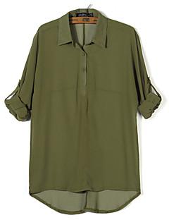 婦人向け シャツカラー レイヤード シャツ , シフォン 長袖