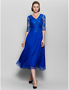 Lanting A-line Mother of the Bride Dress - Royal Blue Tea-length Half Sleeve Chiffon / Lace