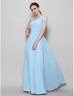 Lanting Bride® Floor-length Georgette Bridesmaid Dress A-line One Shoulder with Side Draping