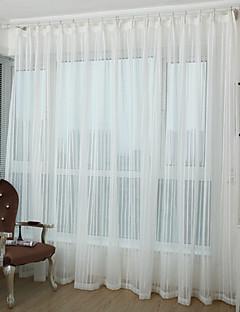 2パネル ウィンドウトリートメント 田舎風 現代風 新古典主義 地中海風 欧風 , 縞柄 リビングルーム ポリエステル 材料 シアーカーテンシェード ホームデコレーション For 窓