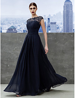 A-Line Bateau Neck Floor Length Georgette Formal Evening Black Tie Gala Dress with Draping Lace by TS Couture®