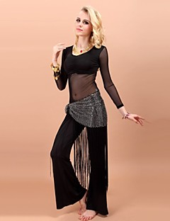Belly Dance Outfits Women's Performance Rayon Spandex Tassel(s) 3 Pieces Waist Belt Pants Top L:51 XL:54