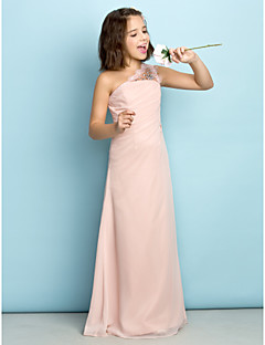 Floor-length Chiffon Junior Bridesmaid Dress - Mini Me Princess One Shoulder with Crystal Detailing / Side Draping