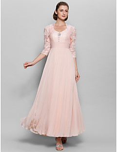 A-line Mother of the Bride Dress Ankle-length 3/4 Length Sleeve Chiffon / Lace with Lace / Ruching / Sequins