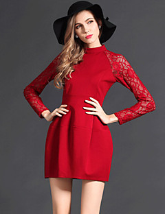 Women's Solid  Dress , Sexy Stand Long Sleeve