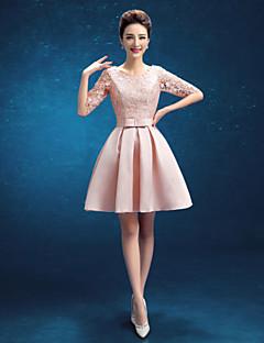 칵테일 파티 드레스 - 블러슁 핑크 A라인 무릎길이 보석 사틴