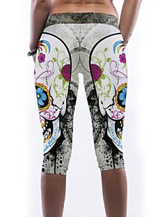 Naisten Kuvio Polyesteri / Spandex Leggingsit ,  Ohut