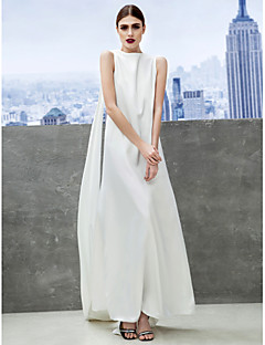 Formal Evening Dress - Ivory Sheath/Column Bateau Ankle-length Chiffon