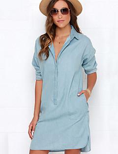 Women's British Handsome Solid Blue Denim Shirt Dress , Casual / Work