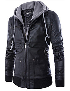 Men's Casual/Daily Street chic Leather Jackets,Color Block V Neck Long Sleeve Fall / Winter Black PU / Polyester Thick