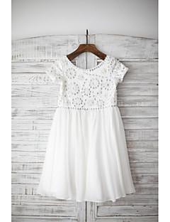 אורך הברך אורך השמלה פרח ילדה - שיפון צוואר הצוואר על ידי thstylee