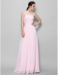 LAN TING BRIDE Floor-length Chiffon Bridesmaid Dress - A-line Strapless with Criss Cross