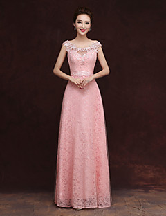 Bridesmaid Dress Floor-length Tulle - Sheath / Column Scoop with Appliques