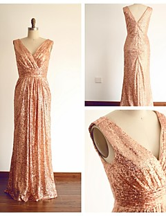 Formal Evening Dress Sheath / Column V-neck Floor-length Sequined with Criss Cross / Sequins