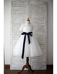 Φόρεμα για Κοριτσάκι Λουλουδιών Γραμμή Α Μέχρι το Γόνατο - Δαντέλα / Τούλι Κοντομάνικο
