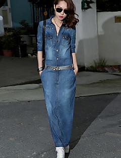 Women's Solid Blue Denim Dress , Casual