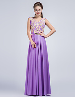 Formal Evening Dress - Lilac Sheath/Column V-neck Floor-length Charmeuse