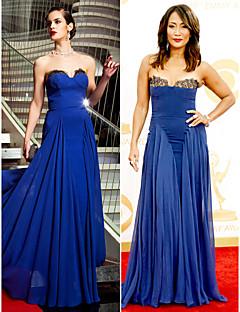 שמלת ג'ורג'ט ערב רכבת לטאטא סטרפלס אונליין / מכחול בהשראת קארי אן Inaba בהאמי