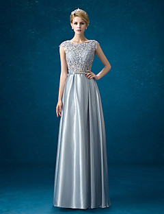 Formal Evening Dress Sheath / Column Jewel Floor-length Lace / Satin with Bow(s)