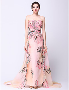 Formal Evening / Black Tie Gala Dress Sheath / Column Strapless Watteau Train Chiffon with Pattern / Print