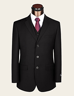 Suits Standard Fit Notch Single Breasted Three-buttons Wool Solid 2 Pieces Black