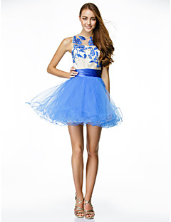 TS Couture Cocktail Party Dress - Royal Blue A-line Jewel Short/Mini Tulle