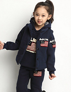 Girl's Blue / Red / Gray Clothing Set , Cartoon Rayon Winter / Spring / Fall