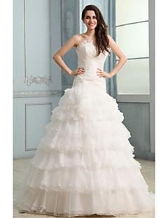 Ball Gown Wedding Dress - White Court Train Strapless Organza