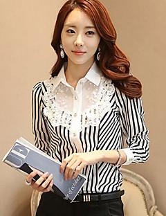 Women's Striped Black Shirt , Shirt Collar Long Sleeve