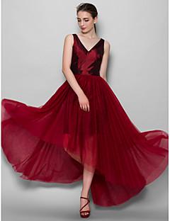 Lanting Bride® Asymmetrical Taffeta / Tulle Bridesmaid Dress A-line V-neck with