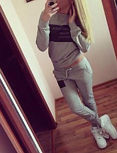 Women's Letter White / Black / Gray Hoodies , Casual / Cute Round Neck Long Sleeve