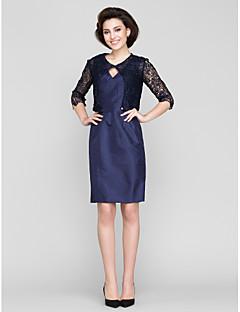 Sheath/Column Mother of the Bride Dress - Dark Navy Knee-length 3/4 Length Sleeve Lace / Taffeta