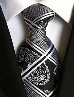 Men Wedding Cocktail Necktie At Work Black White Tie