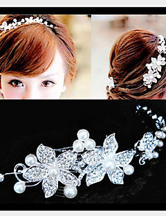 Lucky Doll Women's Elegant Silver Plated Imitation Pearl Cubic Zirconia Long Hair Stick