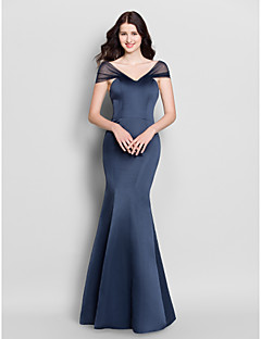 Lanting Bride® Floor-length Satin Bridesmaid Dress - Trumpet / Mermaid V-neck with