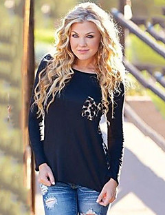 Women's Leopard Black T-shirt , Round Neck Long Sleeve