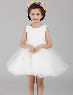 A-line Short/Mini Flower Girl Dress - Lace / Organza Sleeveless