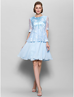 Lanting A-line Mother of the Bride Dress - Sky Blue Knee-length Half Sleeve Chiffon / Lace